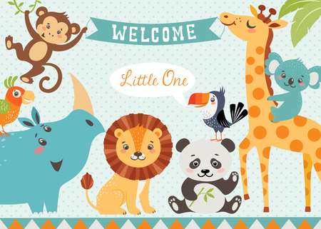 Baby shower design with cute jungle animals. Vector is cropped with Clipping Mask.