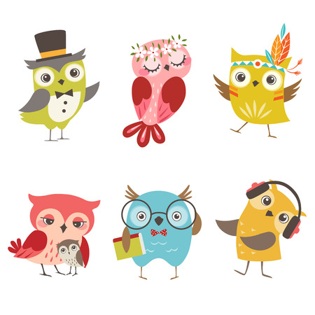 gentleman: Set of cute owls isolated on white background Illustration