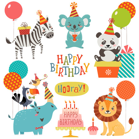 lion cartoon: Set of cute animals for birthday design