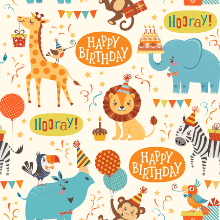 lion cartoon: Seamless birthday pattern with cute jungle animals