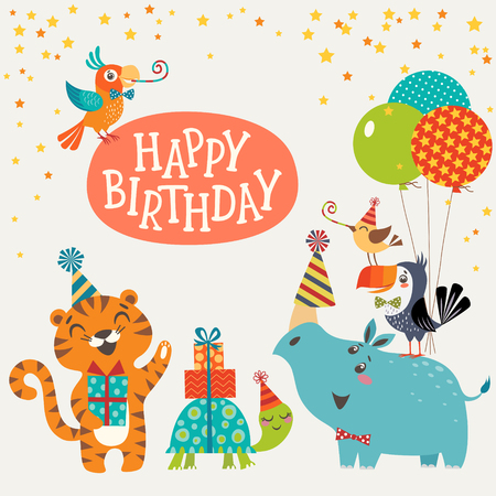 Happy birthday design with cute jungle animals.