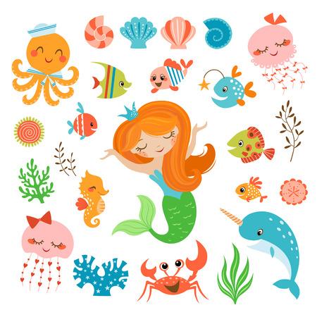 algas marinas: Conjunto de elementos de diseño lindo bajo el agua. Vectores