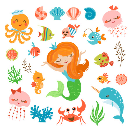 horse fish: Set of cute underwater design elements.