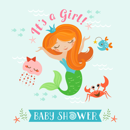 cute baby girl: Cute baby shower design for girl with mermaid Illustration