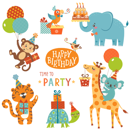 Set of cute animals for happy birthday design