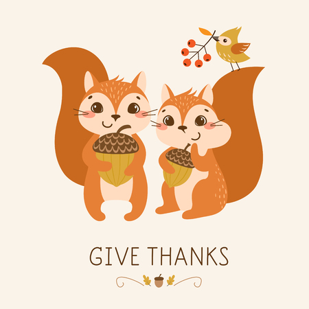 cute animal: Thanksgiving greeting card with cute and funny squirrels.