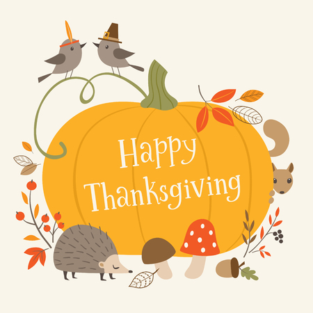 Thanksgiving greeting card with pumpkin and forest animals.