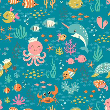 childish: Cute colorful underwater seamless pattern with happy animals. Illustration