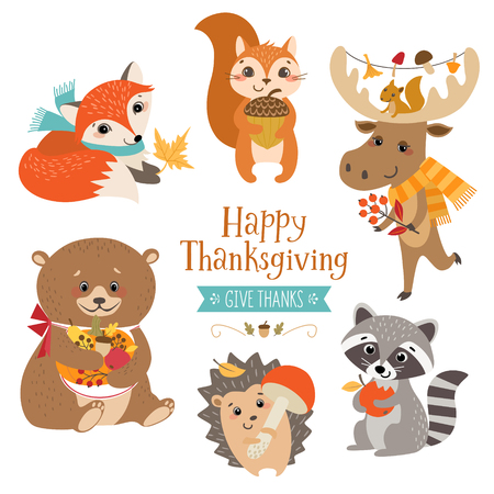 Cute forest animals for Thanksgiving design. Vettoriali