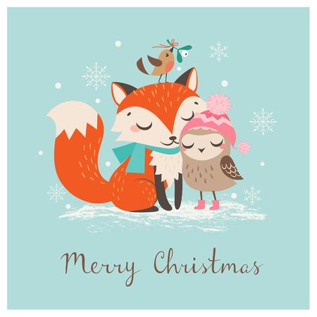 muerdago: Linda tarjeta de felicitación de Navidad con el zorro y el búho.