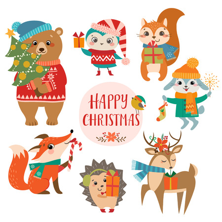 Set of cute forest animals with Christmas presents. Stock Illustratie