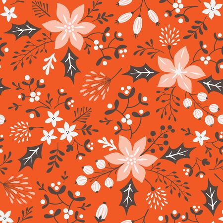 winter flower: Floral Christmas seamless pattern on red background. Illustration