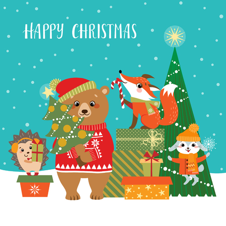 Christmas greeting card with cute forest animals, gifts and Christmas tree. Illustration