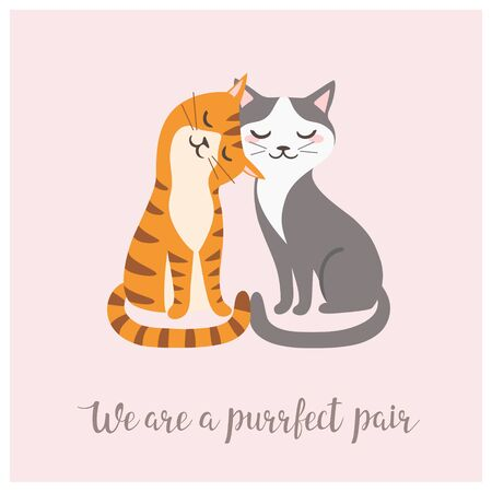 Valentine's day card with couple of cute cats.