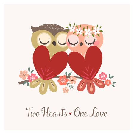 Greeting card with two cute owls in love sitting on flower branch for Valentine's day or wedding congratulations. Illustration