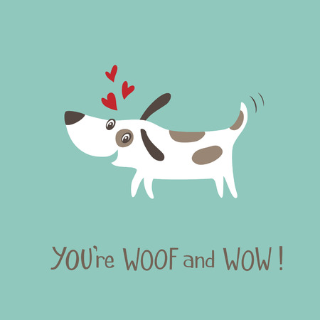happy valentines day: Valentines day card with happy and funny dog.