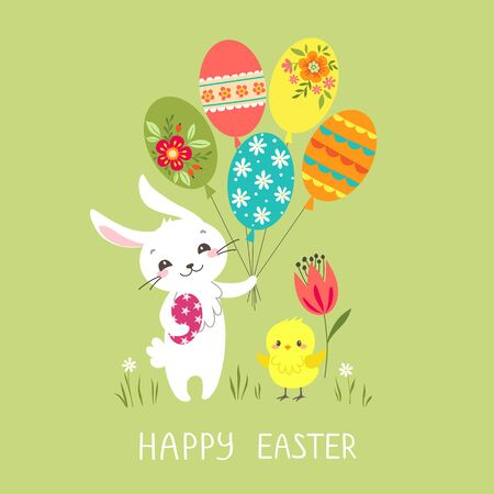 Easter greeting card with cute bunny, colorful balloons and chick. Illustration