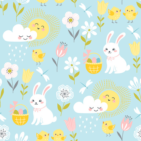 Cute Easter pattern with bunnies, chicks, clouds, sun and flowers in pastel colors.