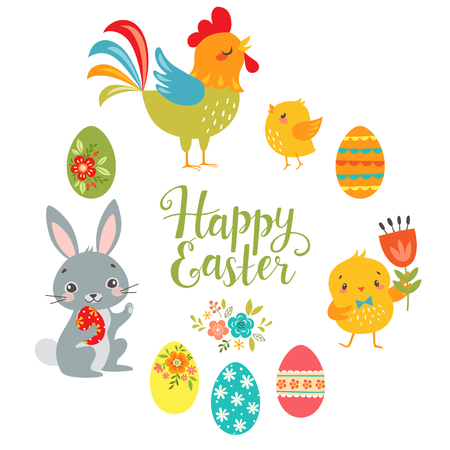 Set of cute Easter design elements: bunny, chicks, rooster, eggs and Happy Easter hand draw text isolated on white background. Illustration