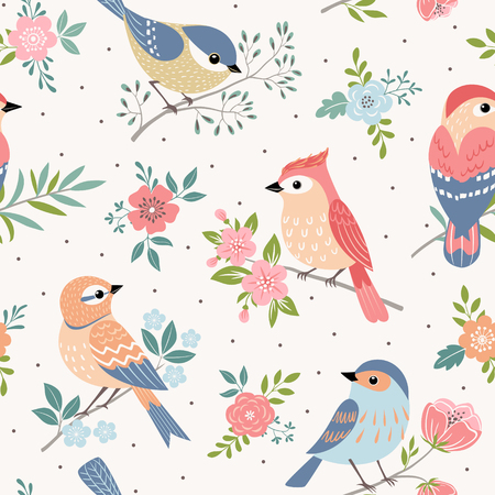A Seamless pastel pattern of birds with floral elements on dot  background.