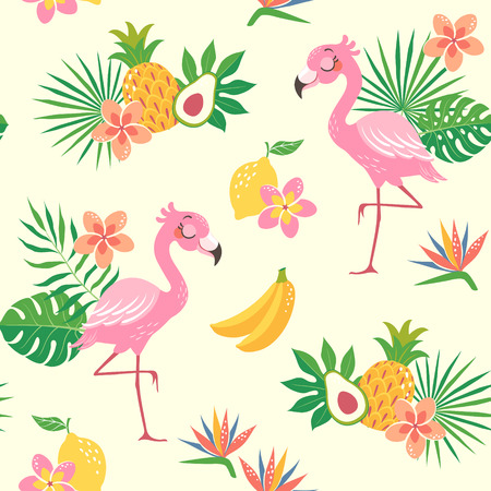 Cute seamless pattern of a flamingo bird with tropical flowers, leaves and fruit.