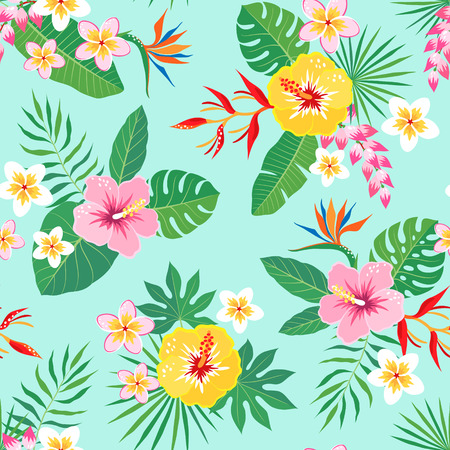 Bright tropical seamless pattern with hibiscus, frangipani, heliconia and bird of paradise flowers on aquamarine background. Illustration