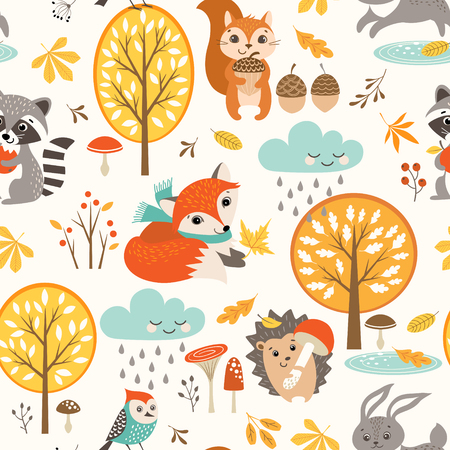 Set of autumn symbols pattern. 矢量图像