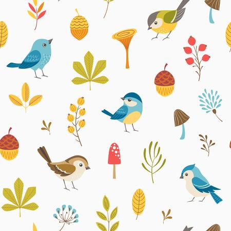 Set of autumn symbols pattern. Illustration