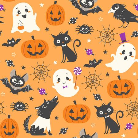 Halloween seamless pattern with cute pumpkins, ghosts, black cat, bats, raven, skin-walker and sweets on orange background. 일러스트