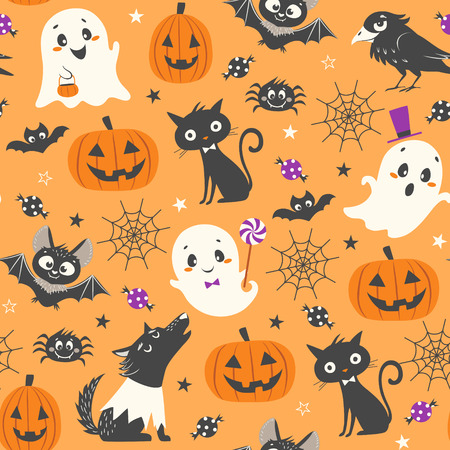Halloween seamless pattern with cute pumpkins, ghosts, black cat, bats, raven, skin-walker and sweets on orange background. Ilustracja