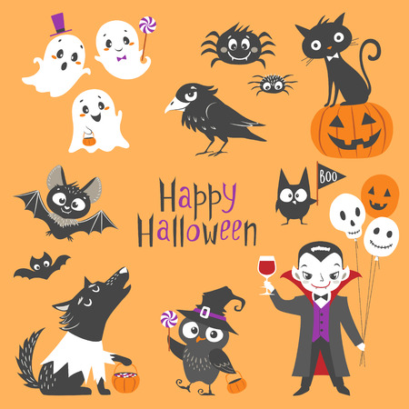 Set of cute Halloween characters.  Pumpkin, ghosts, bats, black cat, raven, spiders, vampire, skin-walker and owl isolated on orange background. Illustration