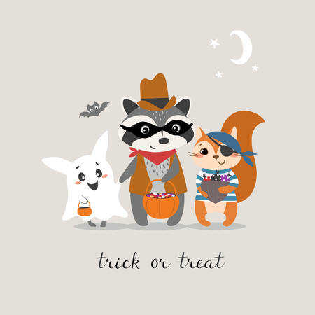 Cute Halloween greeting card with funny little animals trick or treating.