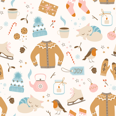 Christmas seamless pattern with cozy winter clothes and cute winter holiday elements. Illustration