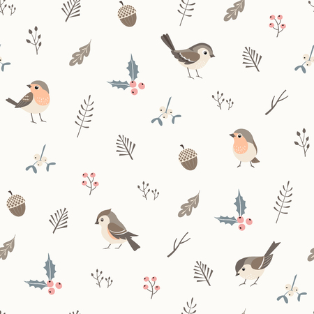 Christmas flora seamless  pattern with cute little birds. Illustration