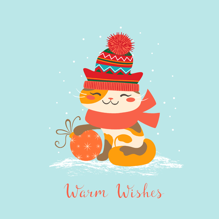 Christmas greeting card with cute cat wearing a red hat and scarf.