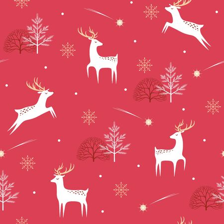 Christmas seamless pattern with deer, Christmas stars, trees and snowflakes on red background.