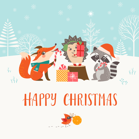 Christmas greeting card with cute woodland animals.