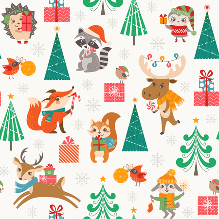 Christmas seamless pattern for children with cute forest animals, gift boxes, Christmas trees and snowflakes. 矢量图像