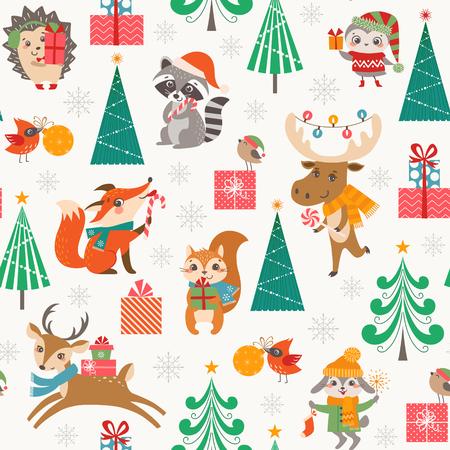 Kerst naadloze patroon voor kinderen met schattige bos dieren, geschenkdozen, kerstbomen en sneeuwvlokken. Stock Illustratie