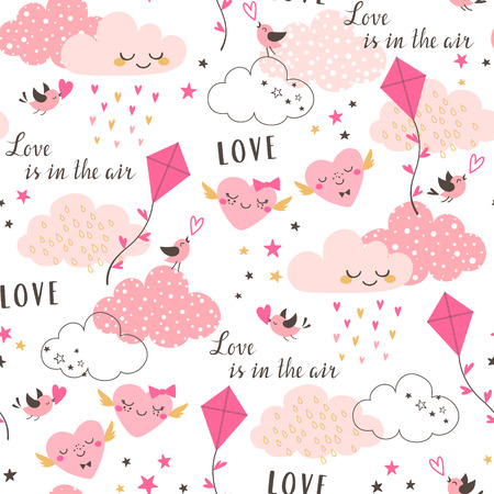Cute Valentine's seamless pattern with pink clouds, hearts, kite, birds and stars on white background. Illustration