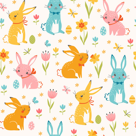 Cute Easter seamless pattern of multicolored  bunnies, Easter eggs, spring flowers, butterflies and dragonflies.