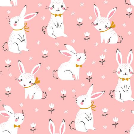 Seamless pattern of cute white bunnies on pink background with floral elements. Illustration