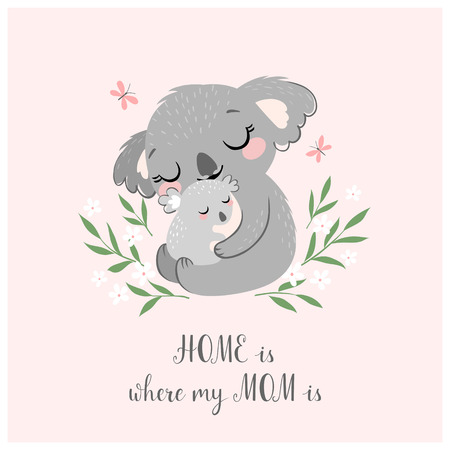 Mothers day greeting card or poster with cute koala mother and baby on pink background. Illustration