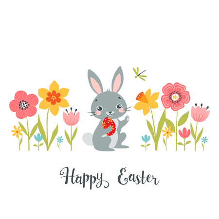 Easter design of cute bunny among spring flowers with hand drawn text.