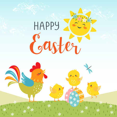 Easter background of cute chicks with happy sun and hand drawn text. Illustration