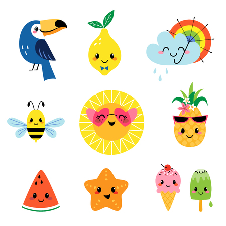 Set of cute summer cartoon characters isolated on white background
