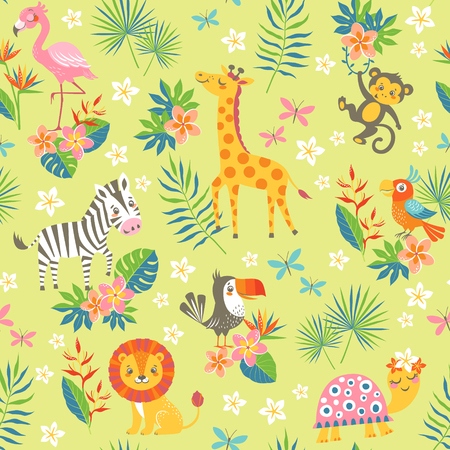 Seamless pattern of cute cartoon tropical animals on green background