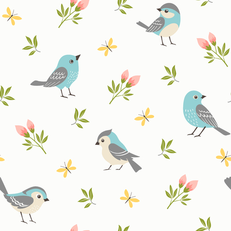 Seamless pattern of blue little birds with rosebuds, small branches and yellow butterflies.