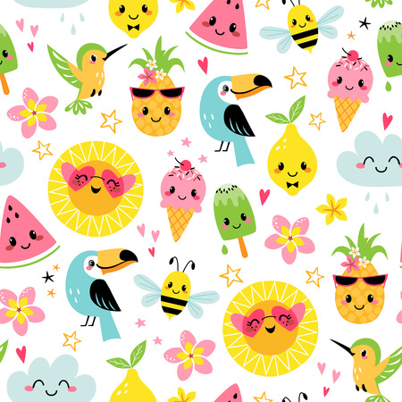 Seamless pattern of cute summer cartoon characters on white background Illustration