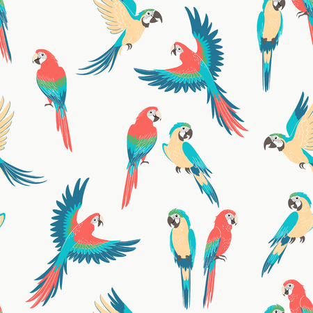 Seamless pattern of sitting and flying macaw parrots